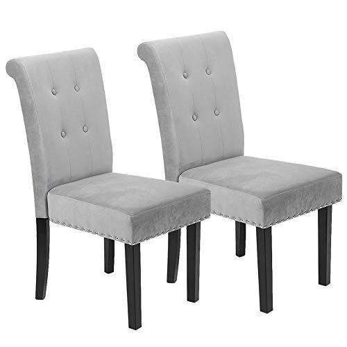 Gmkjh Silla Decorativa de Terciopelo, un par de sillas Ocasionales Decorativas relajantes de Tela de Terciopelo Gris Moderno con Patas de Madera Maciza