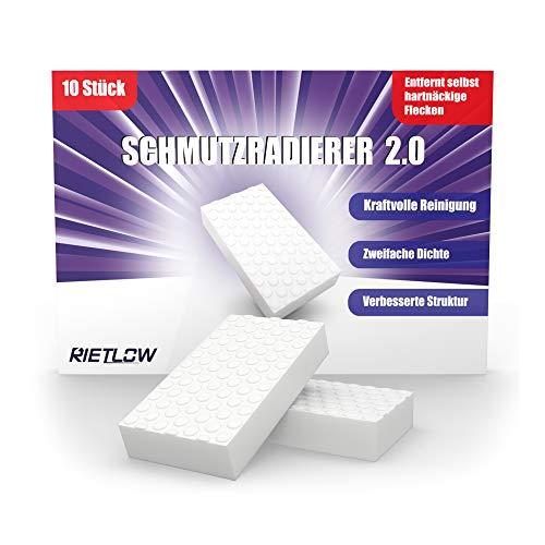 Rietlow Schmutzradierer Wand 10er Set - Universal Zauberschwamm mit zweifacher Dichte und verbesserter Oberflächenstruktur - Radierschwamm - Verbessertes Konzept 2020