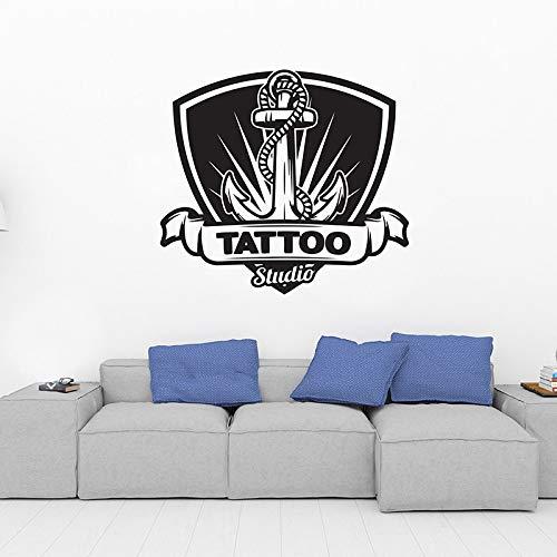 Tattoo Shop schönheitssalon Logo wandkunst Aufkleber Tattoo Studio abnehmbare Vinyl fensteraufkleber glastür wandbild 46 cm x 42 cm