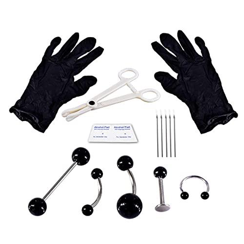 zrshygs Kit de perforación Corporal de 15 Piezas, Adornos corporales neutrales para Mujeres y Hombres, Pendientes Coloridos, Tachuelas para los oídos, Agujas esterilizadas Antitragus