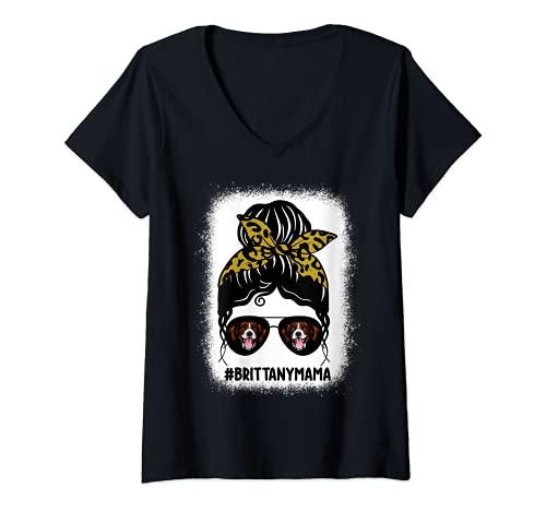 Mujer Brittany Mama - Moño desordenado con estampado de leopardo Camiseta Cuello V