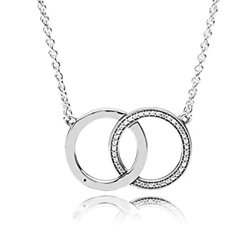 xinmeng 925 Sterling Silver Necklace Two Interlocking Logo Circles With Crystal Necklace For Women Wedding Gift Diy
