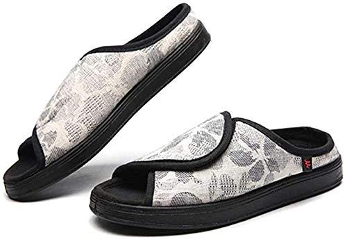 DYWLQ zapatos para diabéticos para mujeres, adultos, zapatillas superiores ajustables, punta abierta, zapatos de interior sin cordones, zapatos ortopédicos, zapatillas de casa súper suaves-red_40_EU