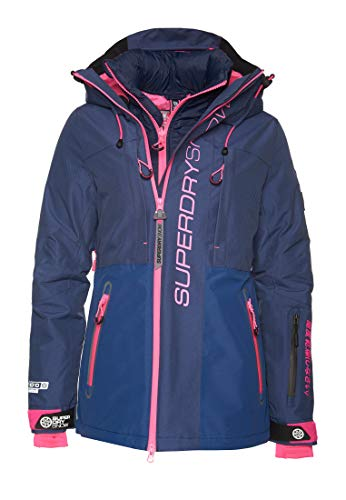 Superdry Slalom Slice Ski Veste de neige, Vortex Navy Mix, 38 Femme