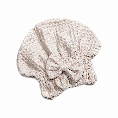 Gjyia Waffle Bow Shower Cap Super Absorbant Dry Hair Cap Bath Wrap Hat Quick Turban