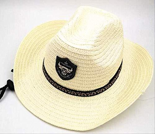 Summer Men Bull Badge Cowboy Straw Sunhat con Cuerda Sombreros de Jazz Western con Tapas de ala Ancha Protección Solar Cap Fedora para Hombre Crema para niños
