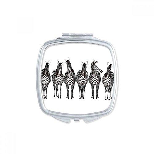 DIYthinker Verschillende actie Zebra Animal Square Compact Make-up Pocket Spiegel Draagbare Leuke Kleine Hand Spiegels Gift