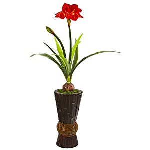 Nearly Natural 44in. Amaryllis Artificial Decorative Planter Silk Plants, Red/Green