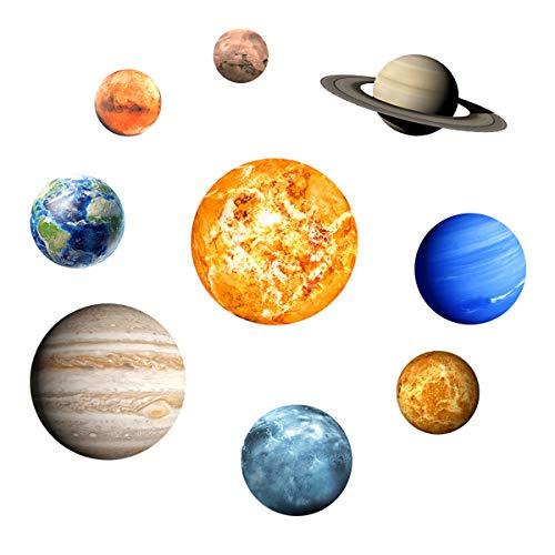 Adesivos de parede planeta ALLOMN que brilham no escuro e planetas brilhantes adesivos de parede sistema solar, 9 adesivos de teto em crescimento para quarto sala de estar, decoração de espaço brilhante para crianças, meninas e meninos