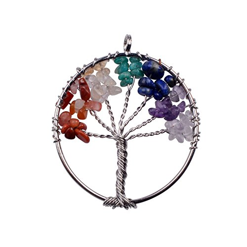 Joya Gift Charm Tree of Life Natural Crystal Stone Handmade DIY Multicolored Gravel Circle Keychain Pendant Necklace
