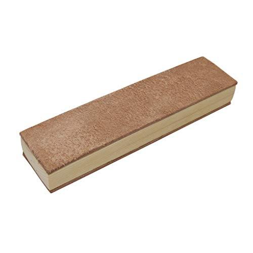 Stabiler Lederriemen Streichriemen Abziehleder auf Holzschleifklotz für die traditionelle Rasur mit Rasiermesser 20 x 5...