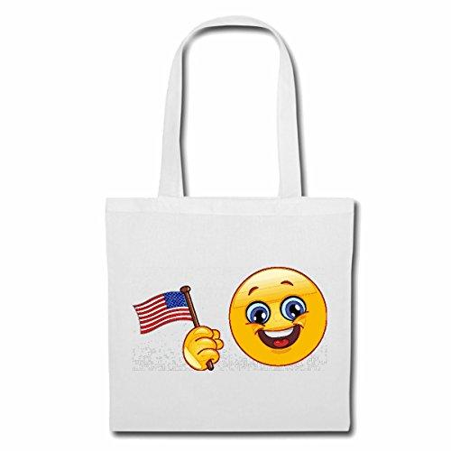 Tasche Umhängetasche Amerika Smiley MIT Fahne Smileys Smilies Android iPhone Emoticons IOS GRINSE Gesicht Emoticon APP Einkaufstasche Schulbeutel Turnbeutel in Weiß