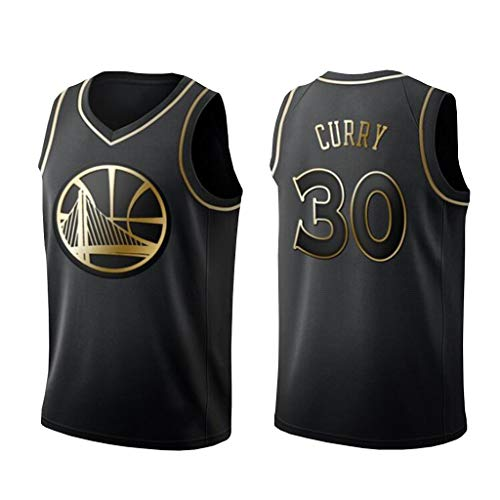 XYHS Herren Basketball Trikot, 30 Stephen Curry Trikots Golden State Warriors Schwarz und Gold Trikot (S-XXL)-L