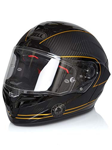 Preisvergleich Produktbild Bell 7069593 Racestar Motorradhelm Speed Check,  Schwarz Matt / Gold,  L