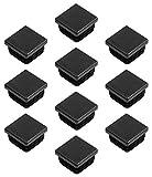 Gedotec PE Rohrstopfen Fußkappen schwarz aus Kunststoff für Vierkantrohr | Formrohr-Stopfen quadratisch | Lamellenstopfen 40 x 40 mm | MADE IN GERMANY | 10 Stück - Abdeckkappen für Quadratrohr