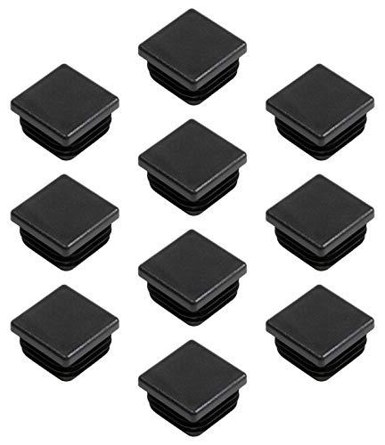 Gedotec PE Rohrstopfen Fußkappen schwarz aus Kunststoff für Vierkantrohr | Formrohr-Stopfen quadratisch | Lamellenstopfen 35 x 35 mm | MADE IN GERMANY | 10 Stück - Abdeckkappen für Quadratrohr