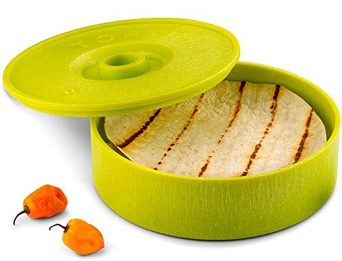 KooK Tortilla Warmer, 8 inch, Holds up to 12 Tortillas (Green)