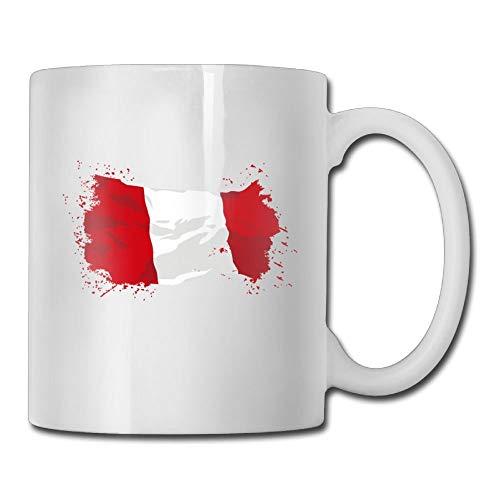 Taza de café personalizada con bandera de Perú, taza de té de cerámica única para hombres de 11 onzas, regalos