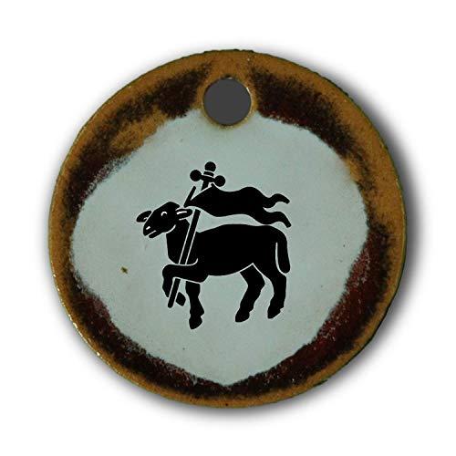 Echtes Kunsthandwerk: Schöner Keramik Anhänger mit dem Zunftzeichen Fleischer, Metzger, Schlachter, Fleischhauer ; Handwerk, Zunft