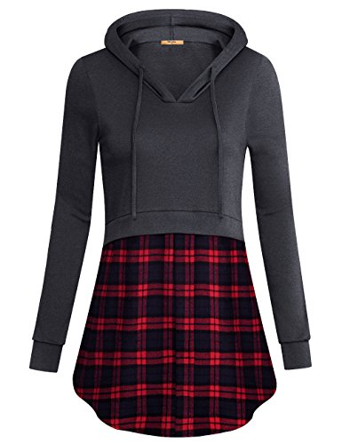 MCKOL Novelty Hoodies for Women, Ladies V Neck Long Sleeve Casual Contrast Plaid Hem Pullover Sweatshirt (Carbon Black,Large)