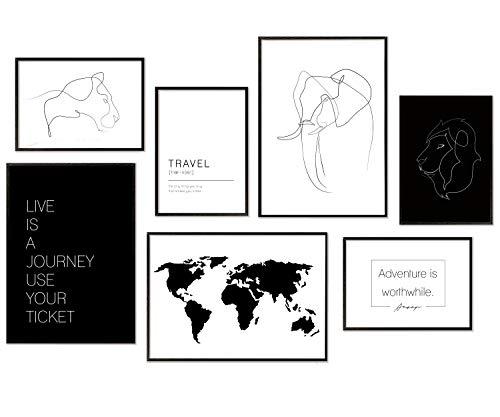 Hyggelig Home Premium Poster Set - 7 passende Bilder im stilvollen Set als Wohnzimmer Deko Wand Bild Schlafzimmer - 3 x DIN A3 + 4 x DIN A4 - Set Line Art Animals - Ohne Rahmen