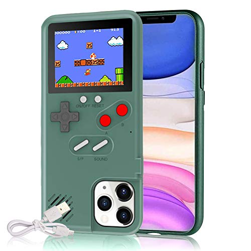 Gameboy Case for iPhone, Autbye Retro 3D Phone Case Game Console with 36 Classic Game, Color Display Shockproof Video Game Phone Case for iPhone(for iPhone 11 Pro,Green)