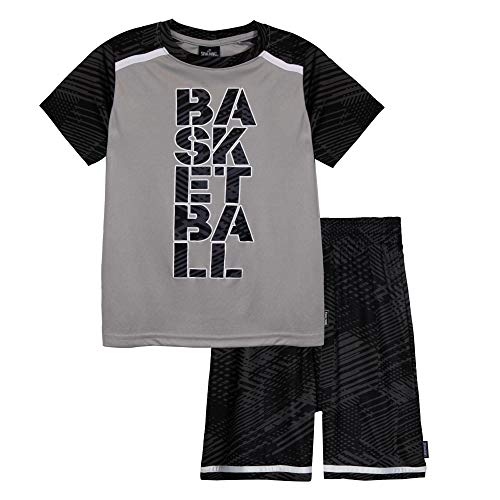Spalding Boys Athletic Graphic Crewneck T Shirt Short Seeve Top and Shorts Gym Set, Gravel, 56
