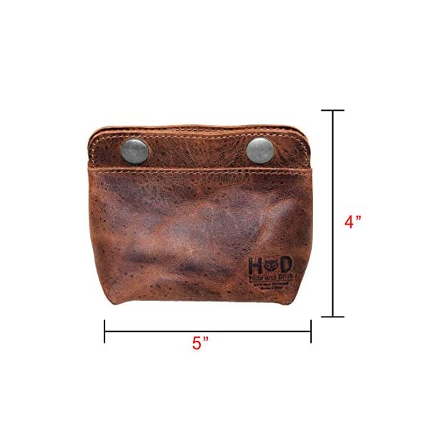 Hide & Drink, Leather Double Snap Pouch, Coin Purse, Cash & Card Holder, Cable Organizer, Makeup, Handmade Includes 101 Year Warranty :: Bourbon Brown