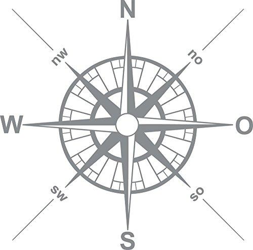 GRAZDesign Wandtattoo Sticker Maritim - Home Dekoration modern Kompass - Walltattoo Wohnzimmer Flur Büro Windrose Kompassrose / 30x30cm / 660029_30_074