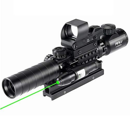 Pinty Rifle Scope 3-9x32 Rangefinder Illuminated Reflex Sight 4 Reticle Green Dot Laser Sight