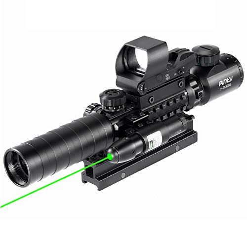 Pinty Rifle Scope 3-9×32 Rangefinder Illuminated Reflex Sight 4 Reticle Green Dot