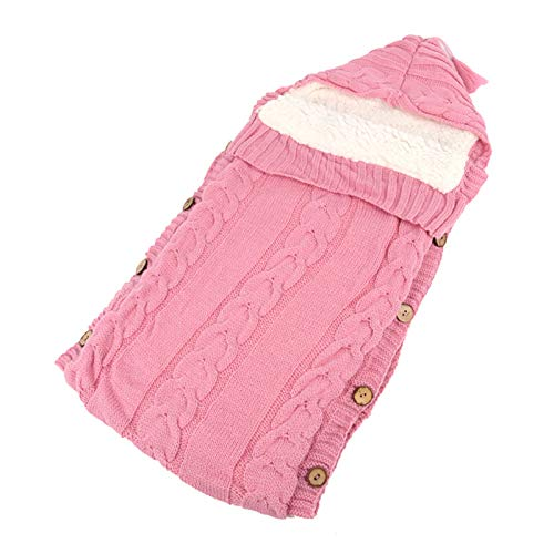 XIANGBEI Saco de dormir de punto para bebé, con botón de capucha para cochecito, saco de dormir antipatadas, consecuencias seguras, bonito saco de dormir para niñas