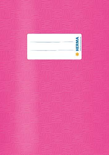 HERMA 7432 Heftumschlag DIN A5 Bast, Hefthüllen mit Beschriftungsetikett und Baststruktur, aus strapazierfähiger und abwischbarer Polypropylen-Folie, Heftschoner für Schulhefte, pink