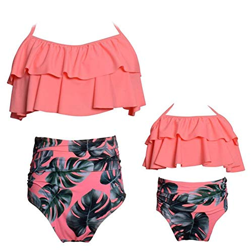 PURFEEL Mother and Daughter Matching Swimsuit High Waist Girls Swimwear Orange+Leaves+Leaves Large/Adult