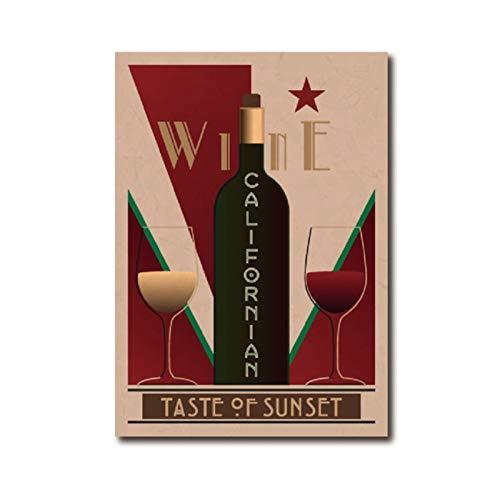 Cartel Vintage de vino californiano Bar Arte de la pared Imagen Decoración Carteles de vino Restaurante Cocina Decoración del hogar Pintura en lienzo 50x70cm Sin marco