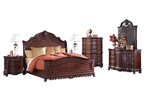 Buy Bargain Debroux English Estate 6PC Bedroom Set E King Sleigh Bed, Dresser, Mirror, 2 Nightstand,...