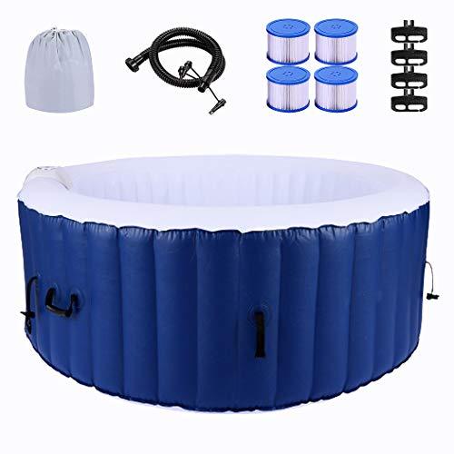 CROFULL Bañera de hidromasaje exterior 4 personas Spa Bañera inflable redonda - Jacuzzi redondo 180 cm, PVC, calefacción, filtro, bañera con panel de control