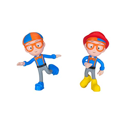 """Blippi Bendable Toy Figures - Includes Two 5"""" Bendable Characters, Featuring Fun Details Like Eyeglasses, Bow Tie, Shoes, and Suspenders - Educational Toys for Children and Toddlers"""