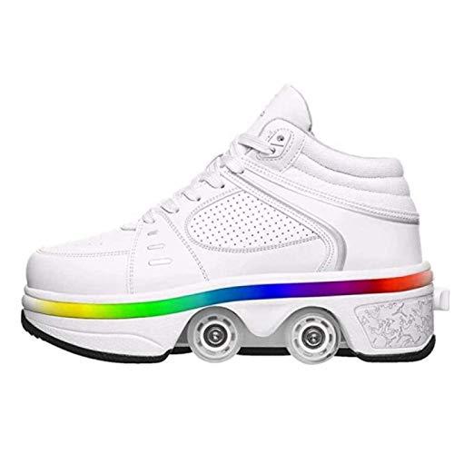 FLY FLQ Zapatos con Ruedas Zapatillas,Luces LED de Colores Zapatos Multiusos, niños Zapatos con Ruedas Skate Zapatos Invisible,37