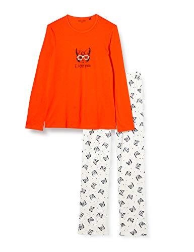 Schiesser Mädchen Schlafanzug lang Pyjamaset, orange, 176