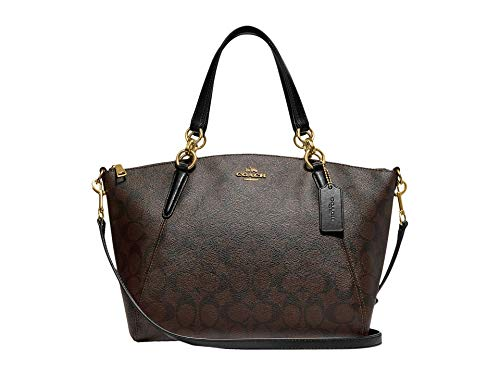 COACH Lightweight Signature Small Kelsey Satchel Brown/Black One Size