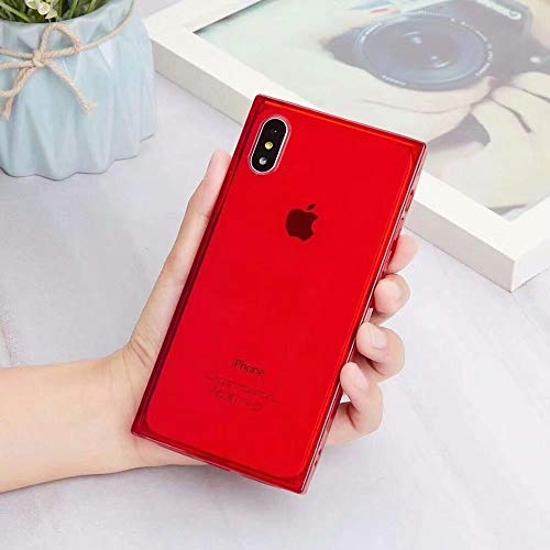 Square Case for iPhone Xs MAX,Tzomsze Reinforced Corners TPU CushionCrystal Clear Slim Cover Shock Absorption TPU Silicone Shell-Red