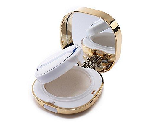 15ml 0.5oz Carré Golden Air Cushion Powder Box Fond de Teint Liquide BB Crème Titulaire avec Powder Puff Air Coussin Éponge et Miroir (1 Pcs)