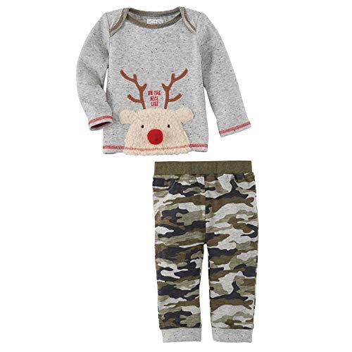 Mud Pie Baby Boys' Reindeer CAMO 2PC Set Overalls, Green, 3-6 Months