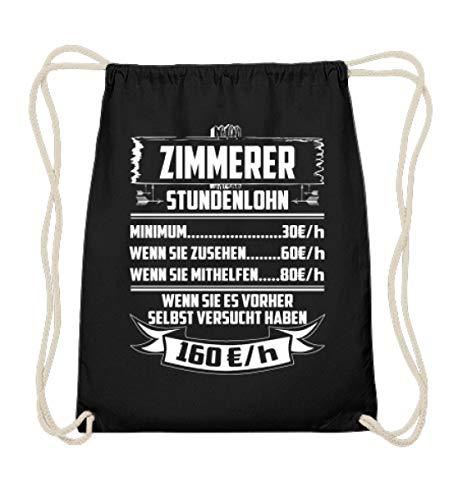 Shirtee Zimmerer Stundenlohn - Baumwoll Gymsac -37cm-46cm-Schwarz