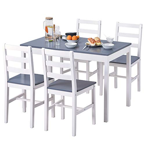Tseria Dining Table and Chairs Set of 4,Solid Pine Kitchen Table and Chairs Set (Grey+White,1 Table+4 Chairs)