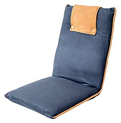 bonVIVO Easy II Padded Floor Chair with Adjustable Backrest, Comfortable, Semi-Foldable, and Versatile, for Meditation, Seminars, Reading, TV Watching or Gaming, Elegant Design, Blue & Beige