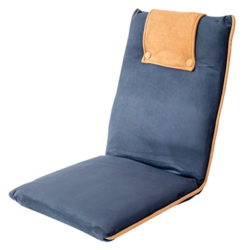 bonVIVO Padded Floor Chair - Easy II Floor Seating for Adults w/Adjustable Backrest, Blue & Beige