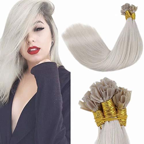 LaaVoo Nail Tip Extension Remy Human Hair Capelli Veri Cheratina U Tip Hair Extension Veri Keratina Capelli Lisci Bionda Platino #60 14 Pollici/35cm 50Grammi