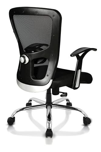 SAVYA HOME Apex Chairs Beatle Chrome Base Medium Back Office Chair (Black)